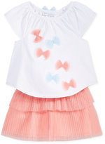 First Impressions 2-Pc. Bows Top and Pleated Skirt Set, Baby Girls (0-24 months), Created for Macy's