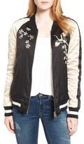 Pam & Gela Women's Embellished Satin Bomber Jacket
