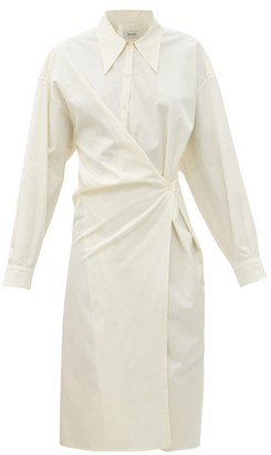 Lemaire Exaggerated-collar Cotton-poplin Wraparound Dress - Ivory