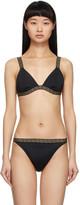 Versace Underwear Black Greek Key Bikini Top