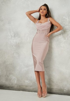 Missguided Mauve Corset Bandage Mesh Detail Midi Dress