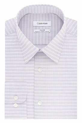 Calvin Klein Men's Dress Shirts Non Iron Stretch Regular Fit Check