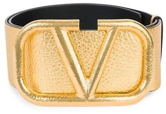 Valentino VLogo Metallic Leather Belt