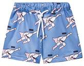 Caroline Bosmans Blue Superman Peace For President Shiny Wide Shorts