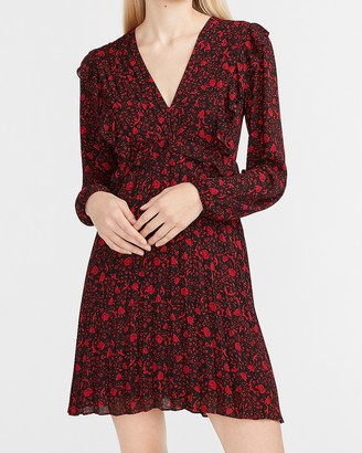Express Floral Ruffle Front Pleated V-Neck Dress
