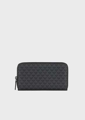 Emporio Armani Leather And Pvc Wallet With All Over Logo