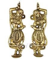 """EYES OF INDIA - 6"""" PAIR INDIAN DANCER DOOR HANDLES CABINET PULLS Bronze Antique India Deco"""