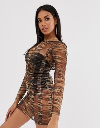 ASOS DESIGN bodycon jersey mesh beach dress in striped tiger print