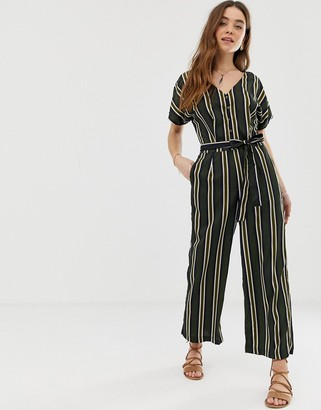 Gilli button front jumpsuit with tie waist in stripe