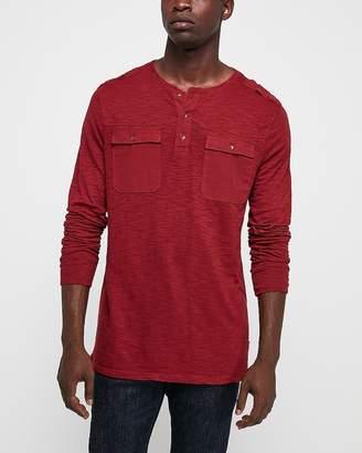 Express Garment Dyed Long Sleeve Slub Henley T-Shirt