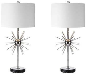Jonathan Y Designs Set Of 2 Aria 31.5In Metalmarble Led Table Lamps