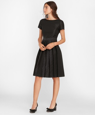 Brooks Brothers Polka-Dot Jacquard Pleated Dress