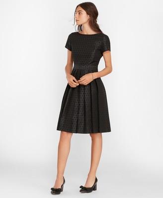 Brooks Brothers Polka-Dot Jacquard Pleated Dress