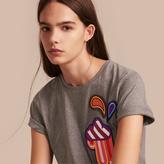 Burberry Appliquéd Weather Motif Cotton T-shirt