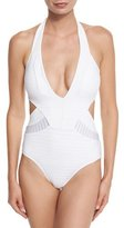 Jets Parallels Plunging Halter One-Piece Swimsuit, White