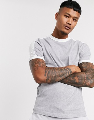Asos Design DESIGN organic t-shirt with contrast shoulder panel in gray marl
