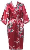 J.ROBE Women's Printing Lotus Kimono Robe Nightwear Short Style Silk Bathrobe S