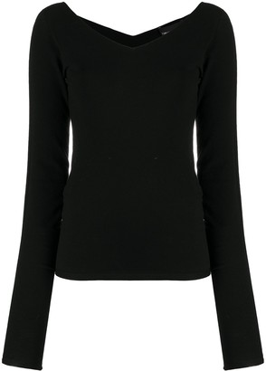 Emporio Armani V-Neck Long-Sleeved Top
