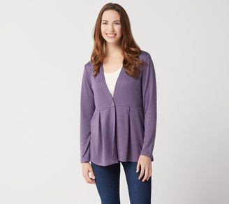 Denim & Co. Heavenly Jersey Long-Sleeve One Button Cardigan