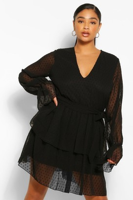 boohoo Plus Dobby Mesh Tiered Belted Skater Dress