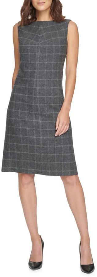 Donna Karan Plaid Sheath Dress