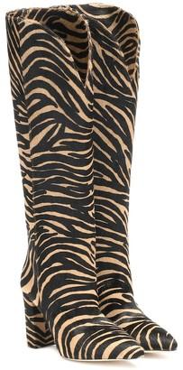 Paris Texas Zebra-print calf hair knee-high boots