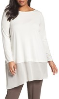 Eileen Fisher Plus Size Women's Stretch Silk Jersey & Crepe Tunic
