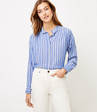 LOFT Petite Striped Ruffle Trim Shirt