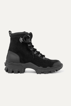Moncler Helis Leather-trimmed Suede Ankle Boots - Black