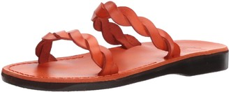 Jerusalem Sandals Joanna - Leather Braided Strap Sandal - Red