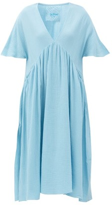 Loup Charmant Riva Organic-cotton Gauze Midi Dress - Light Blue