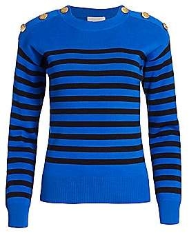 Joan Vass Women's Petite Button-Shoulder Striped Pullover