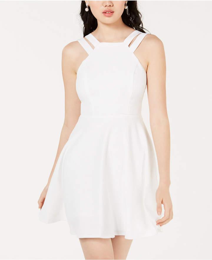 B. Darlin Juniors' Double-Strap Fit & Flare Dress