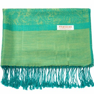 Becolored Paisley Pashmina Silk Scarf Shawl Jacquard Cashmere Wrap Stole Two Tones Reversible - Green - Large