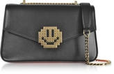 Les Petits Joueurs Black Leather Ivy Metal Smile Shoulder Bag
