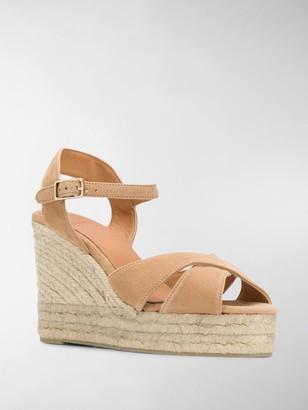 Castaner Crossed-Strap Wedge Sandals