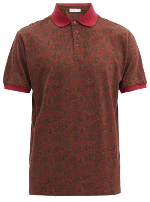 Etro Paisley-print Cotton-pique Polo Shirt - Red Multi
