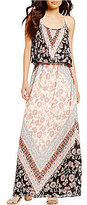 Takara Border Print Popover Maxi Dress