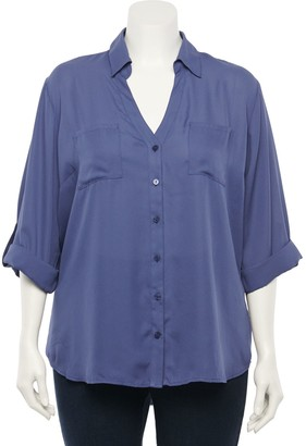 Iz Byer Juniors' Plus Size 2-pocket Collared Shirt