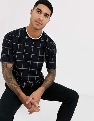 Topman t-shirt in black windowpane check