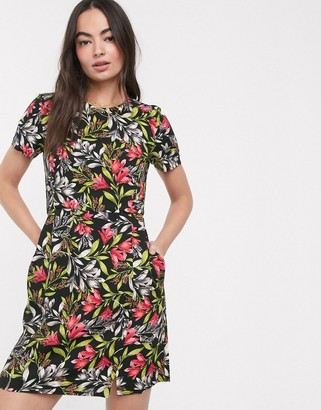 French Connection short sleeve skater dress in dark based floral