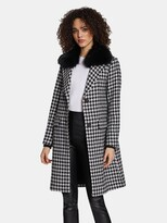 Thumbnail for your product : Dawn Levy Noelle Houndstooth Pattern Wool Coat with Removable Raccoon Fur Collar