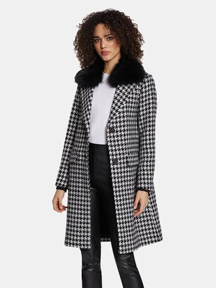 Dawn Levy Noelle Houndstooth Pattern Wool Coat with Removable Raccoon Fur Collar