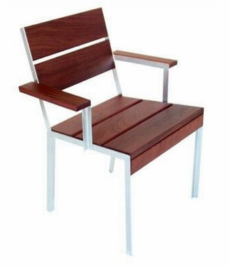 Modern Outdoor Etra Large Patio Dining Arm Chair with Cushion Frame: Powder Coated Steel, Surface: Black Polyboard, Cushion: Chocolate