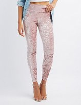 Charlotte Russe Crushed Velvet High-Rise Leggings