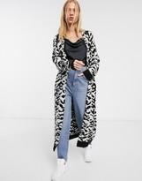 Asos Design DESIGN maxi cardigan in animal pattern borg knit