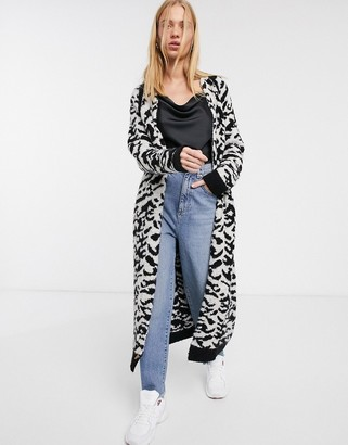 Asos Design DESIGN maxi cardigan in animal pattern borg knit-Multi