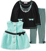 Kids Headquarters 3 Pc. Faux Fur Vest, Top & Leggings Set, Baby Girls (0-24 months