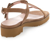 Taryn Rose Trevor Moonlight Leather Sandal, Wheat