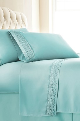 SouthShore Fine Linens King Sized Premium Collection Double Brushed Lace Extra Deep Pocket Sheet Sets - Sky Blue